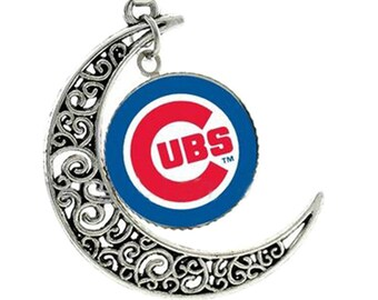 Chicago Cubs Necklace, Team Logo Charm Pendant, Crescent Moon Necklace, Cubs Baseball Jewelry Gift, Top Selling Cubs Jewelry Gift for Women