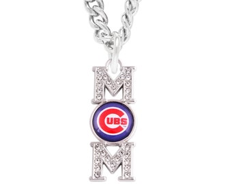 Chicago Cubs Mom Necklace, Simulated Diamond Pendant, Chain Necklace, Cubs Mom Baseball Team Logo Charm, Women's Jewelry, Cubs Gift for Mom
