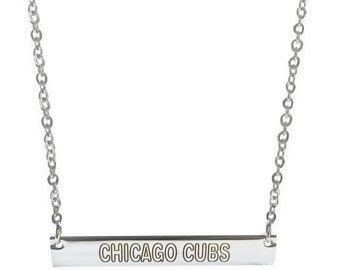 Chicago Cubs Engraved Necklace, Silver Stainless Steel Nameplate, Horizontal Bar Necklace, Womens Jewelry, Mens Jewelry, Gift for Cubs Fan