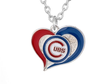 Chicago Cubs Love Heart Necklace, Team Logo Swirl Heart Charm Pendant, Silver Chain Baseball Necklace, Womens Jewelry Gift for Wife, Mom
