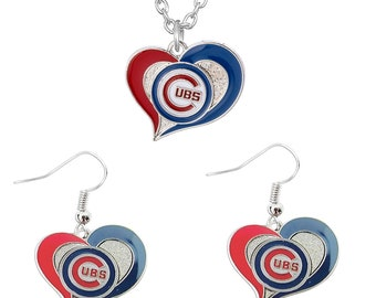 Chicago Cubs Jewelry Set, Swirl Love Heart Necklace and Earring Set, Team Logo Charm Pendants, Womens Jewelry, Cubs Gift for Mom, Wife Girl