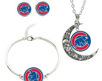 Chicago Cubs Jewelry Set, Cubbie Bear Logo Necklace Earring Bracelet Set, Baseball Team Logo Charm Pendant, Womens Jewelry Gift for Cubs Fan