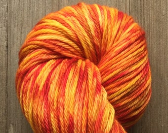 Hand Dyed Yarn, Worsted Weight 4ply, 100% Superwash Merino Wool, Sunburst on Hearty Worsted Yarn