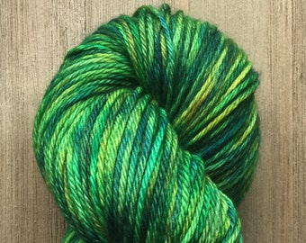 Hand Dyed Yarn, Worsted Weight 4ply, 100% Superwash Merino Wool, Jungle on Hearty Worsted Yarn