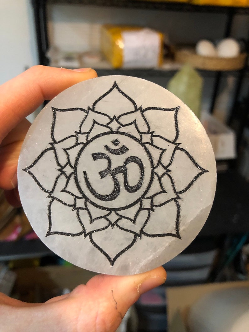 Circle 3 Selenite Charging Pad Plate Charge and Cleanse Your Crystals
