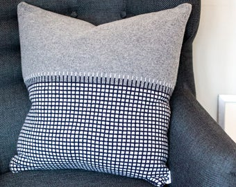 Knitted Lambswool Grid Cushion