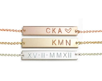 Gold bar Necklace, Name bar Necklace, Personalized Necklace, Engraved Necklace, Name Necklace, Silver Bar Necklace, Silver Necklace.