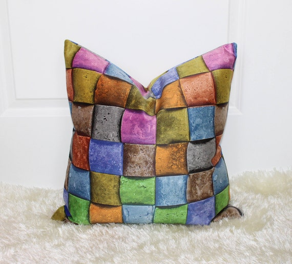 Rainbow Multi Color Weave Print Decorative Throw Pillow Cover Etsy Best Etsy Decorative Throw Pillows