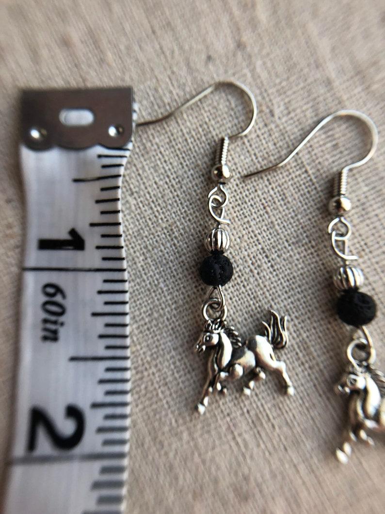 Horse Charm Earrings Horse Lava Earrings Horse Earrings Essential Oil Earrings Earrings Diffuser Horse Earrings Aromatherapy Earrings