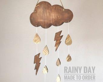 Modern Baby Mobile - Rainy Day Baby Nursery Mobile