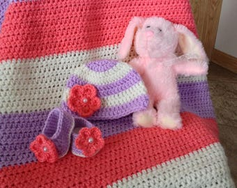 Berries & Cream Baby Girl Set - Blanket, Hat, and Booties (PATTERN ONLY)