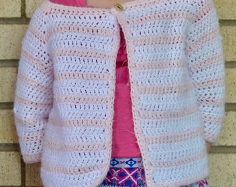 Little Girl Striped Cardigan (PATTERN ONLY)