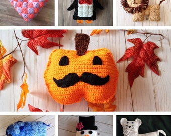 Panel Softies Crochet Bundle (PATTERNS ONLY) Granny Square Animals and Panel Softies