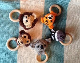 Jungle Animals Teething Rings Series (PATTERNS ONLY), Tiger, Monkey, Lion, Zebra, Koala Teethers