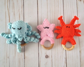 Sea Creatures Crochet Teething Rings (PATTERNS ONLY)