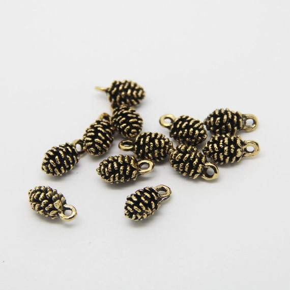 6cbbb13c366 20pcs Lot-12MM Zinc Alloy Antique Gold Plated mini Pine Cone