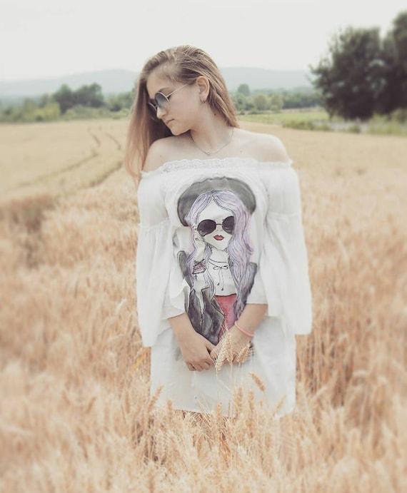 e637115b4971 Short boho dress with long bell sleeves Women boho clothing