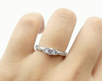 925 Sterling Silver TRILOGY Three STONES Created Diamond ENGAGEMENT 0.50CT Ring