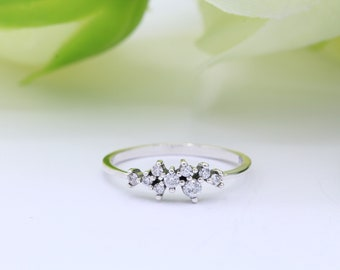 925 Silver Ring,Cluster Ring,Stacking,cocktail ring,Delicate,dainty jewellery Simulated diamond Amethyst Ring,CLEARANCE SALE
