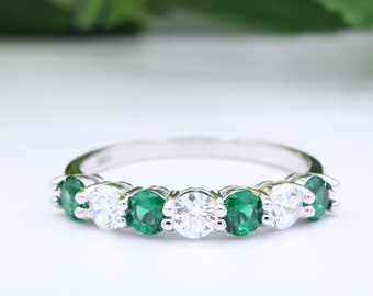 3mm Full Eternity Art Deco Wedding Band Ring Alternating Square Round Emerald Green CZ Simulated Diamond Rose Gold 925 Sterling Silver