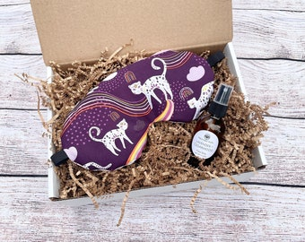 Weighted Eye Mask Gift Set, Self Care, Aromatherapy, Organic Flaxseed & Lavender, Pillow Spray, Gift Box