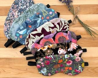 Sleep Mask, Eye Mask, Cotton Print, Organic Lavender, Comfort, Self Care, Relaxation, Aromatherapy, Meditation, Yoga, Spa Mask, Gift Idea