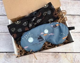 Sleep Mask Gift Set, Weighted Eye Mask, Headband, Organic Lavender, Stretch Cotton, Twist Top Knot, Self Care Gift Set, Travel Gift Set