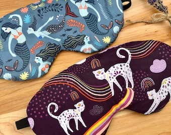 Weighted Eye Mask, Organic Flax Seed & Lavender, Removable Washable Cover, Aromatherapy, Self Care, Mermaids, Rainbows, Cats