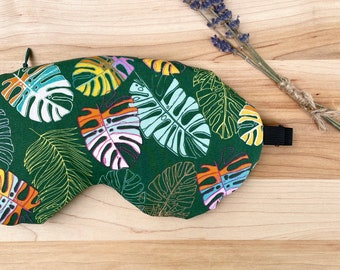 Weighted Eye Mask, Organic Flax Seed, Lavender, Cotton, Green Monstera, Adjustable Mask, Removable Cover, Aromatherapy, Self Care, Plant Mom