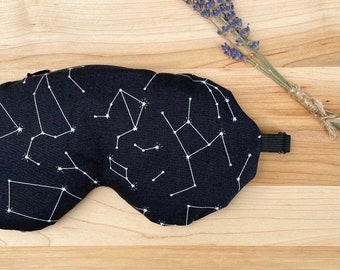 Weighted Eye Mask, Organic Flax Seed, Lavender, Cotton, Black Constellations, Adjustable Mask, Removable Cover, Aromatherapy, Self Care