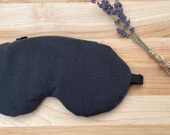 Weighted Eye Mask, Organic Cotton, Black, Flax Seed, Lavender, Adjustable, Removable Cover, Aromatherapy, Self Care, Meditation, Relaxation