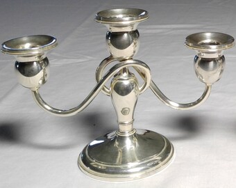 Pair of Vintage Sterling Silver Weighted Triple Candelabras circa 1940s