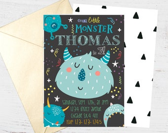 Monster Alien Party Digital Invite | FREE back side | Boys Birthday Party Invitation | Printable Personalised Download