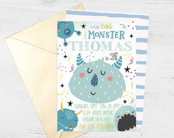 Cute Monster Alien Party Digital Invite | FREE back side | Boys Birthday Party Invitation | Printable Personalised Download