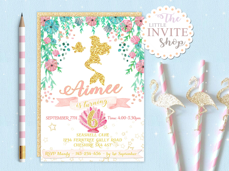 Girls Mermaid Invite Birthday Party Invitation Princess | Etsy