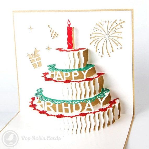 Handgemachte 3D Pop Up Geburtstag Grusskarte Geburtstagstorte