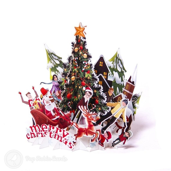 Merry Christmas Tree Family Scene Handmade 3d Pop Up Christmas Card