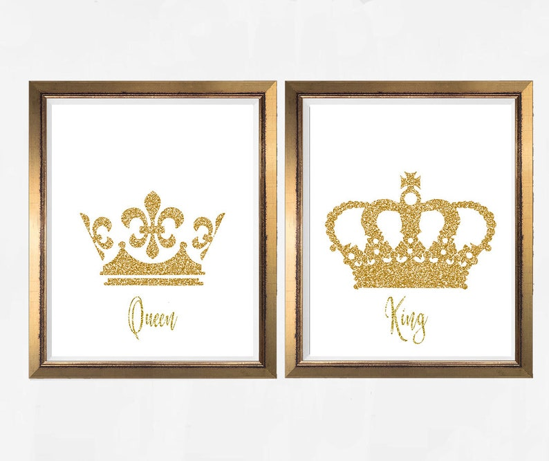 photograph about King Crown Printable called King and Queen, Crown, King Crown, Queen Crown, Crown printable, gold Crown, Take pleasure in printable, gold print, Bed room decor, Number of bed room, mounted