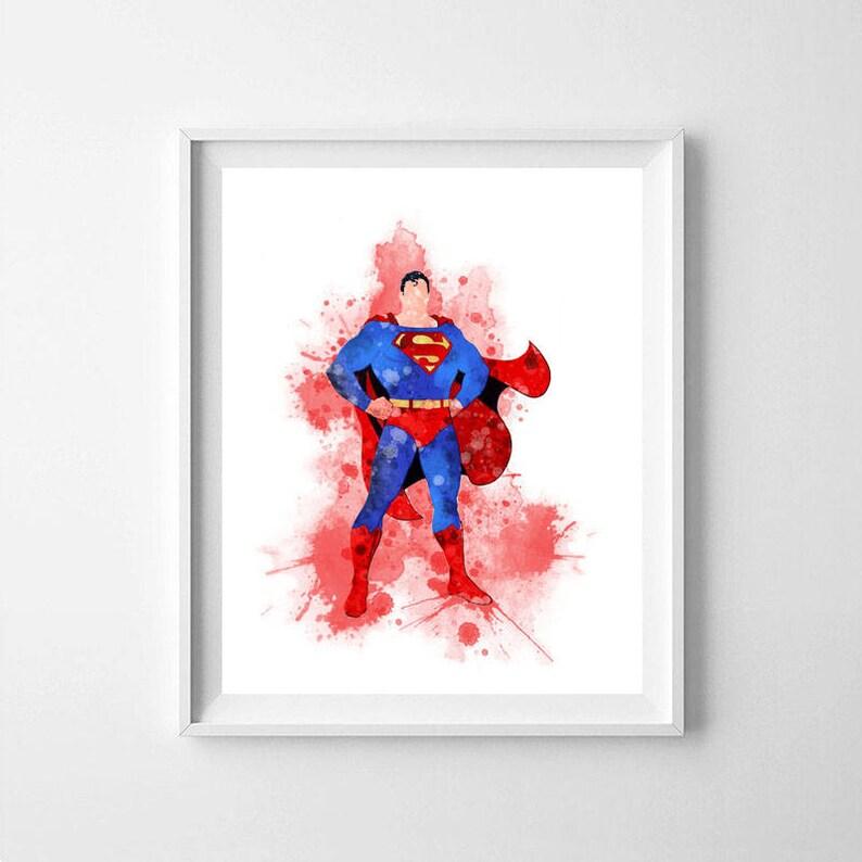 image regarding Superman Printable named Superman, Superman nursery artwork, Superman printable, printable Superman artwork, Superman poster, Superman artwork, watercolor Superman