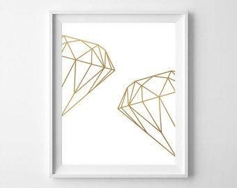 Diamond, geometric diamond, Scandinavian art, geometric art printable, geometric diamond print, geometric print, gold print