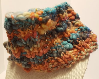 Hand Knit Colorful Art Yarn Cowl - Ready to Ship - Free US Shipping