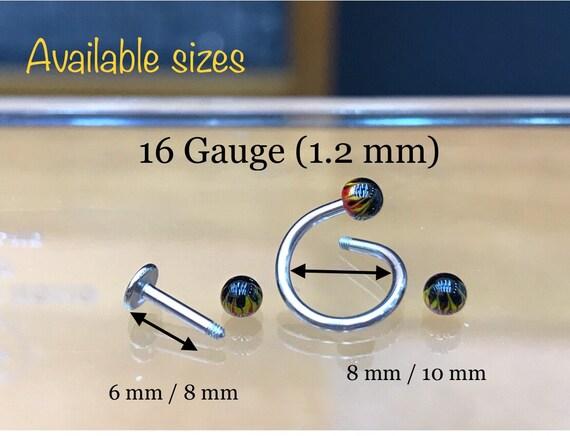 piercing  diamètre de la tige 1,6 mm dian intérieur 8 mm