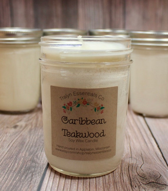 Caribbean Teakwood Soy Wax Candle Soy Candles Handmade Clean Etsy