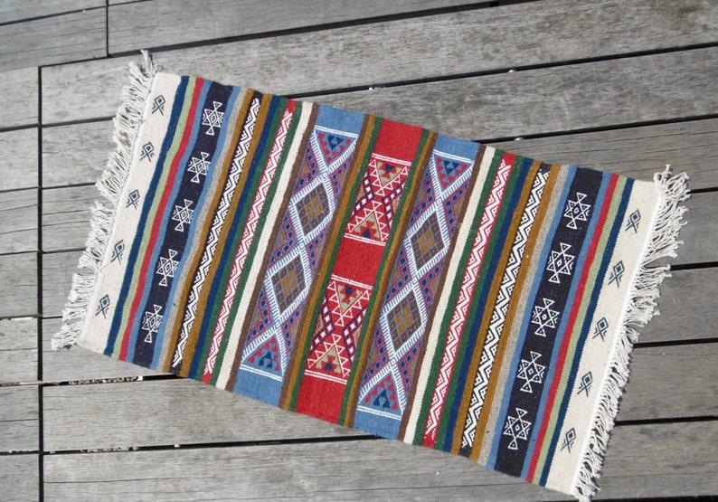 Colorful Berber kilim ethnic wool hand woven rug / / //tapis image 0