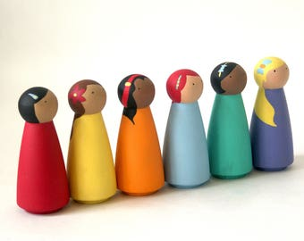 Waldorf Peg Dolls, Peg Doll, Peg dolls, Wooden Peg Dolls, Montessori Toys, Wooden Dolls, Montessori, Christmas Gift, Wooden Peg People