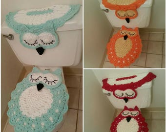 Mint Tank Cover and Seat Cover Set, Crochet Owl Tank and Lid Cover, Owls Bathroom Covers, Owl Bath Accessories, Juego de Bano Tejido Buho