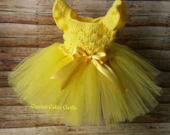 5eaa46d403 Tutu Baby Dress, Newborn Baby Outfit, Crochet Baby Outfit, Baby Flower Girl  Princess Dress, Baby Dress, Baby Girl Tutu Dress, Baby Gift