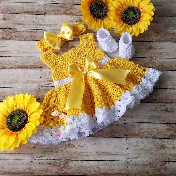 SALE! Crochet Baby Dress, Cotton Crochet Baby Outfit, Yellow Baby Dress, Coming Home Outfit,Baby Shower Gift, Baby Headband, Vestido Bebe