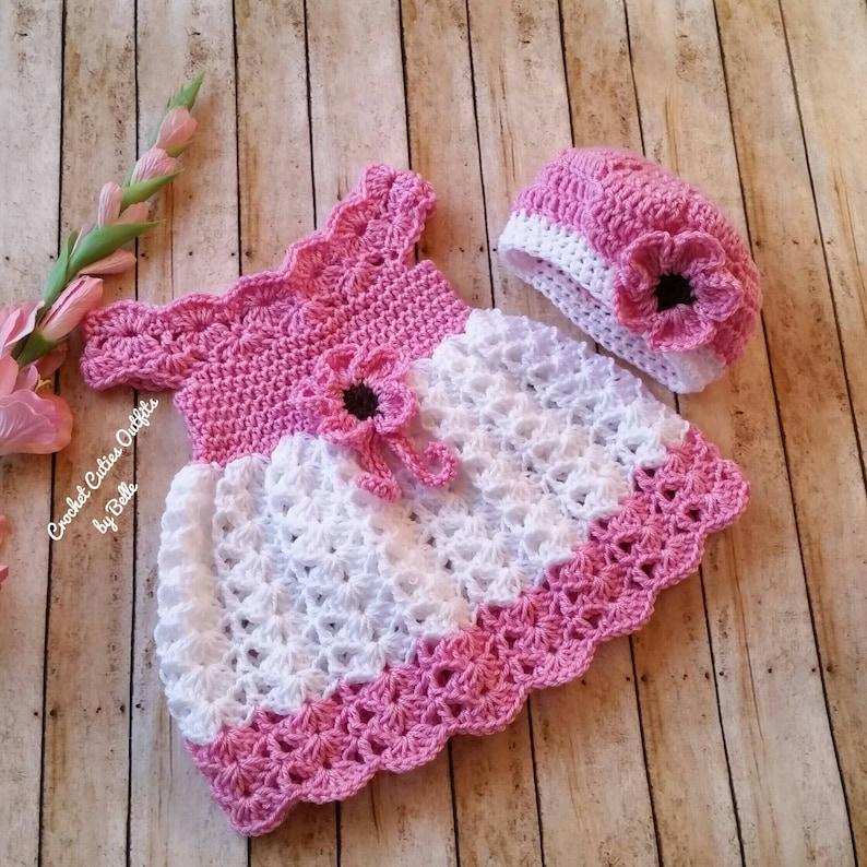 4f71c4b2e1d11 Crochet Baby Dress and Hat Infant Baby Dress Handmade Baby | Etsy