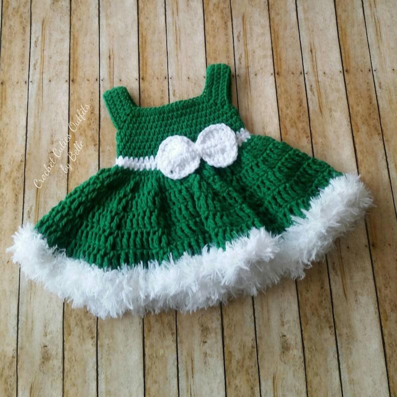 Baby Dress Crochet Baby Dress Green Dress Christmas Baby Etsy